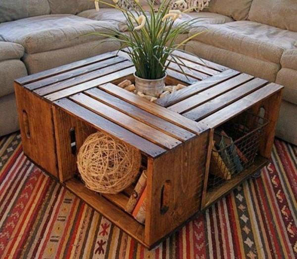 Idée déco : table basse en cageots bois